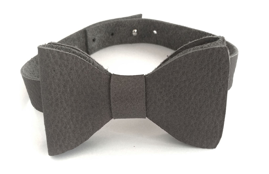 Earl Grey Leather bow tie