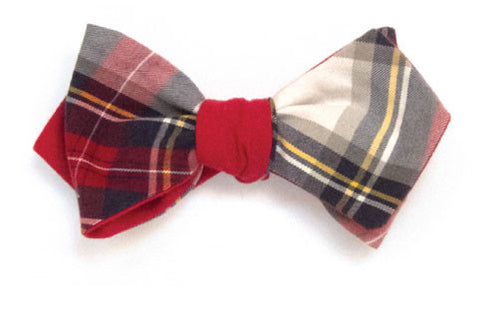Infinite Hall Pass - Reversible red, navy and white tartan bow tie