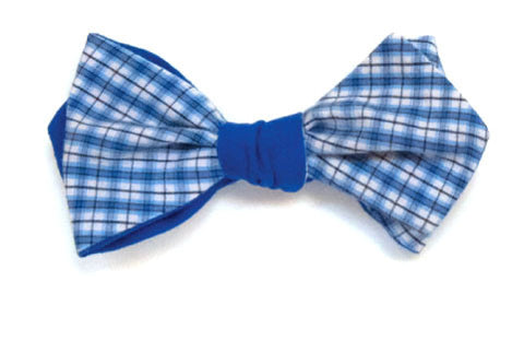 Mrs. Robinson - Reversible blue and white plaid bow tie