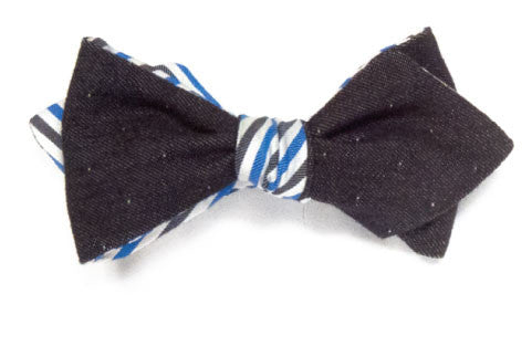 Prep Stripe - Reversible denim bow tie
