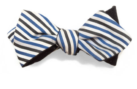 Prep Stripe - Reversible blue, grey and white striped bow tie