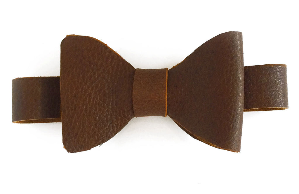 Whiskey Brown Leather bow tie front view