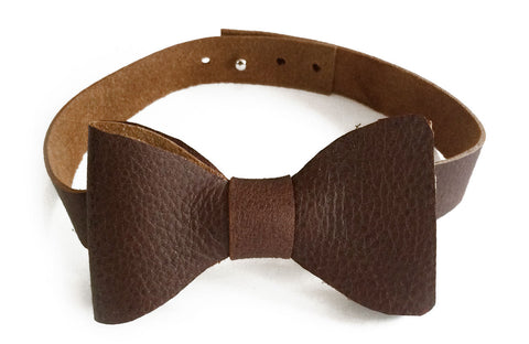 Whiskey Brown Leather bow tie