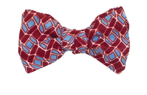 Bacchanalia - Silk mosaic bow tie in red and turquoise