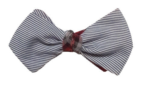 Le Sommelier - Grey and White pinstripe bow tie