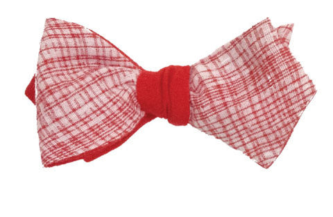 No way Rosé - Linen bow tie in red and white