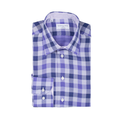 Gary Cotton Voile Large Check - Purple