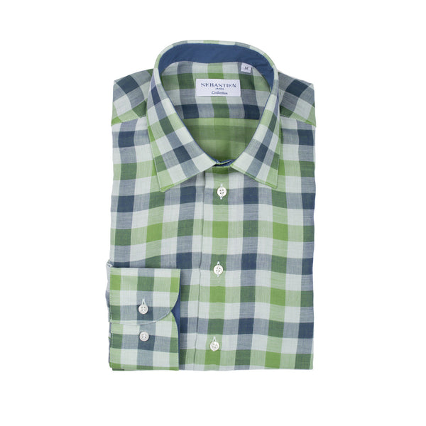 Gary Cotton Voile Large Check - Green