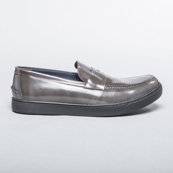 Patent Leather Loafer - Grey