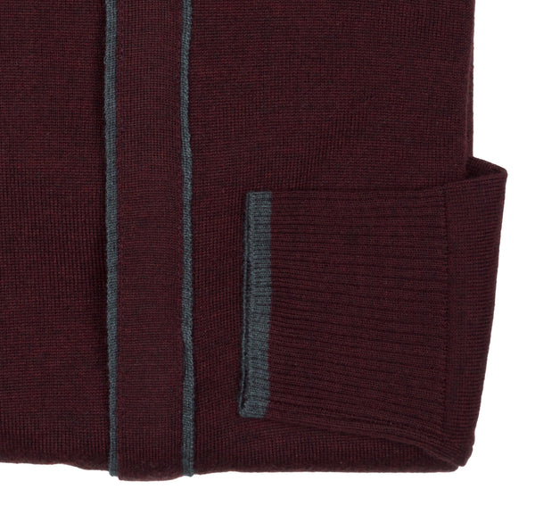 Zip Knit Cardigan - Burgundy
