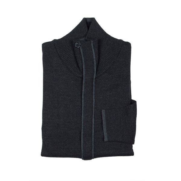 Zip Knit Cardigan - Dark Grey
