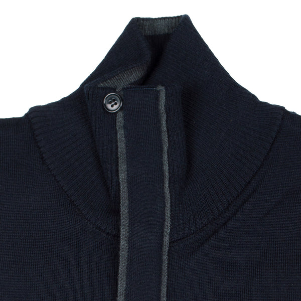 Zip Knit Cardigan - Navy Blue