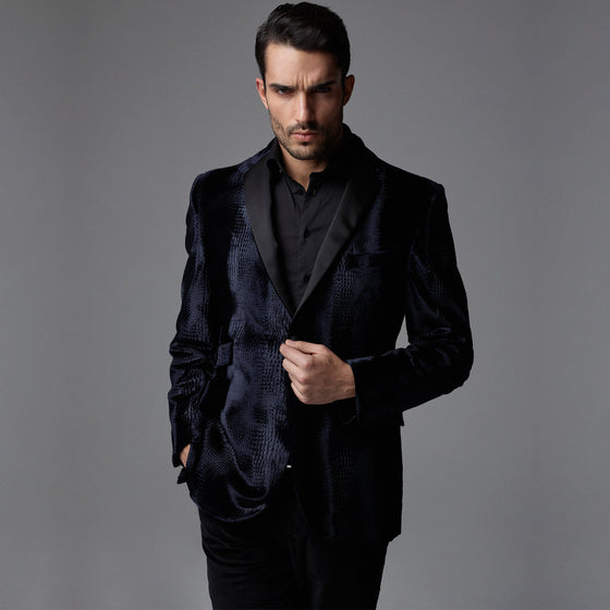 Parker Night Embossed Velvet Blazer - Dark Blue