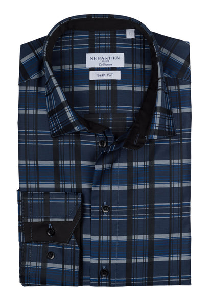 Gary Standard Fit Shirt - Blue Graphic Plaid
