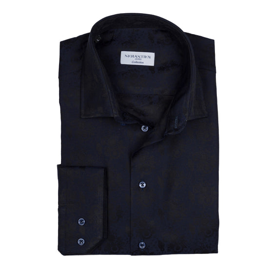 James Cotton Jacquard Shirt - Bold Navy