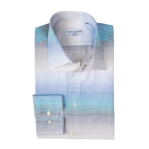 Steve Cotton Shirt - Blue Beige