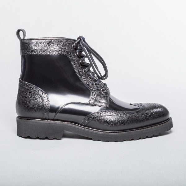 Patent Leather Wingtip Boot - Black