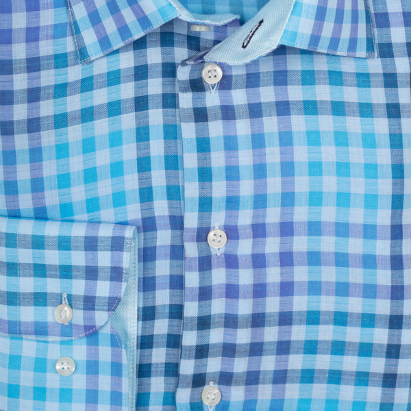 Gary Cotton Voile Mini Check - Blue