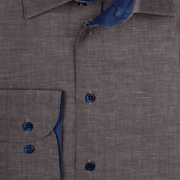Gary Shirt Cotton Linen - Dark Brown