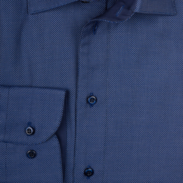 Gary Cotton Shirt - Navy Blue