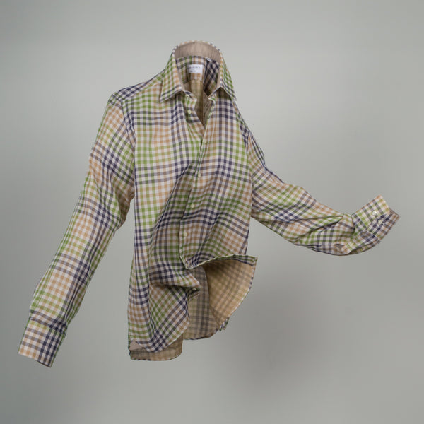 Gary Cotton Voile Mini Check - Beige
