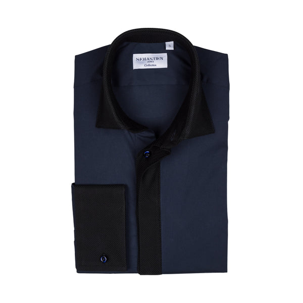 Hidden Placket Standard Fit Shirt - Navy