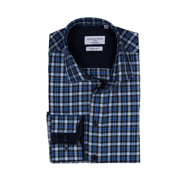 James cotton tailored fit shirt - blue check