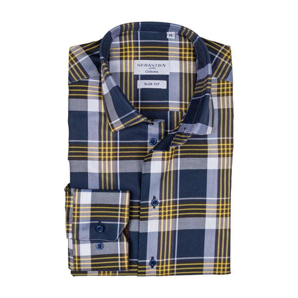 James Shirt Cotton - Blue Brown Yellow Plaid