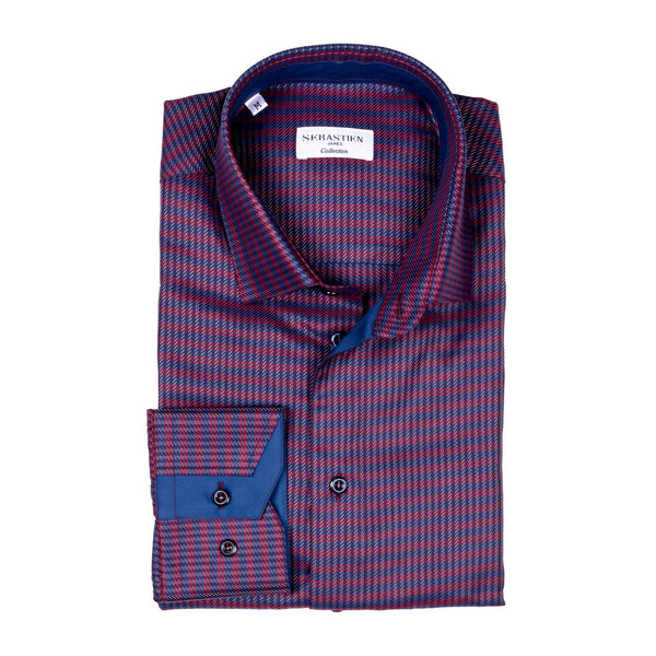 James Cotton Shirt - Red and Blue Weave