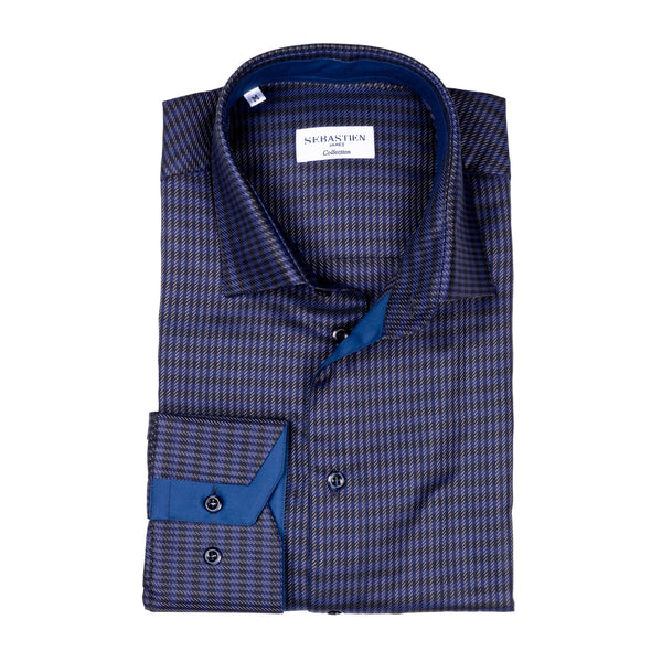 James Cotton Shirt - Purple and Navy Weave