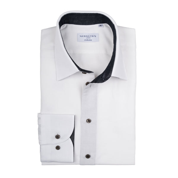 Gary Shirt Cotton Linen - White