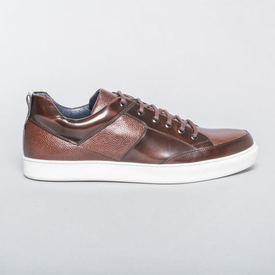 Pebbled Leather Sneaker - Brown