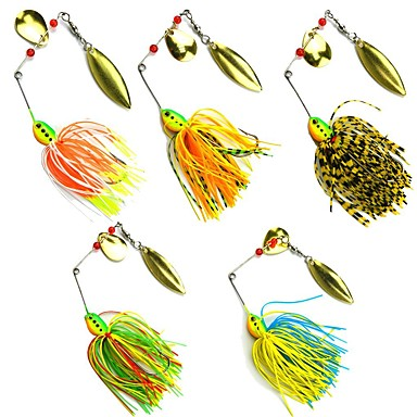 5 pcs Fishing Lures Buzzbait & Spinnerbait Metal Bait Spinnerbaits Sinking Bass Trout Pike Sea Fishing Bait Casting Spinning Lead Metal / Jigging Fishing / Freshwater Fishing / Bass Fishing