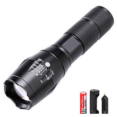 LED Flashlights / Torch Waterproof Rechargeable 3000 lm LED Emitters 5 Mode with Battery and Charger Waterproof Zoomable Rechargeable Adjustable Focus Super Light High Power Camping / Hiking / Caving