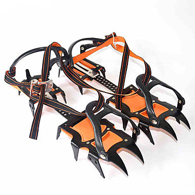 Traction Cleats Crampons Spikes Professional Adjustable Anti-skidding 12 Teeth Stainless Steel Nylon Hiking Climbing Camping Outdoor Walking Orange / Black 2 pcs