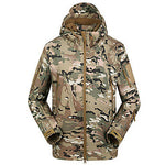 Men's Camouflage Hunting Jacket Camo / Camouflage Winter Outdoor Thermal / Warm Windproof Breathable Rain Waterproof Fleece Jacket Hoodie Softshell Jacket Camping / Hiking Hunting Fishing Black Tan