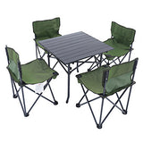 Shamocamel® Camping Folding Table with Chairs Portable Mini Foldable Oxford Cloth Aluminium Alloy 4 Chairs 1 Table for 4 Fishing Beach Camping Autumn / Fall Spring Black