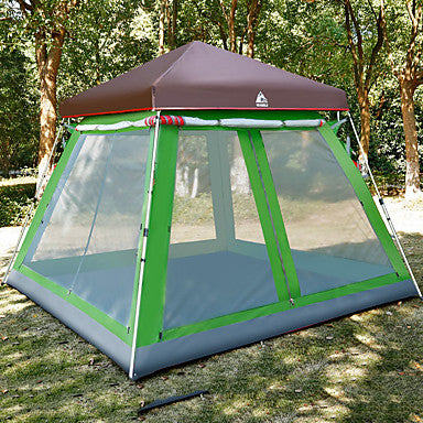 Hewolf 8 person Family Tent Outdoor Windproof Rain Waterproof Wearable Single Layered Poled Camping Tent >3000 mm for Camping / Hiking / Caving Picnic Glass fiber Oxford Cloth 300*300*230 cm