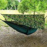 Camping Hammock with Mosquito Net Hammock Rain Fly Outdoor Sunscreen Breathable Ultra Light (UL) Parachute Nylon with Carabiners and Tree Straps for 2 person Hiking Climbing Camping Army Green