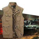 Men's Hiking Vest / Gilet Fishing Vest Outdoor Breathable Comfortable Wear Resistance Multi Pocket Top Cotton Single Slider Fishing Outdoor Exercise Camping / Hiking / Caving Army Green / Khaki