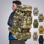 70 L Hiking Backpack Rucksack Military Tactical Backpack Breathable Straps - Breathable Rain Waterproof Anti-tear Durable Outdoor Hunting Fishing Hiking Nylon Black Grey Army Green / Yes