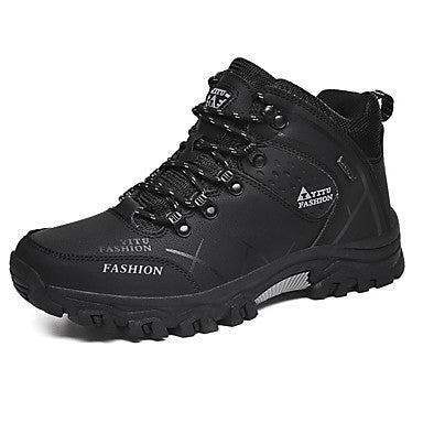 Men's Hiking Shoes Hiking Boots Thermal / Warm Waterproof Shock Absorption Non-Skid High-Top Non-slip Steel Buckle Outsole Pattern Design Hiking Climbing Mountaineering Autumn / Fall Winter Black