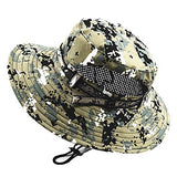 Hiking Hat Boonie hat Hat Wide Brim Sunscreen UV Resistant Camo Cotton Spring for Men's Women's Hunting Fishing Climbing Green