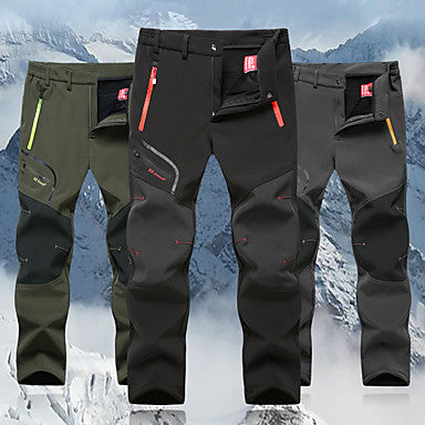 Men's Hiking Pants Softshell Pants Outdoor Thermal / Warm Windproof Breathable Winter Fleece Pants / Trousers Hunting Fishing Hiking Black Army Green Grey XXXL 4XL 5XL / Micro-elastic / Quick Dry