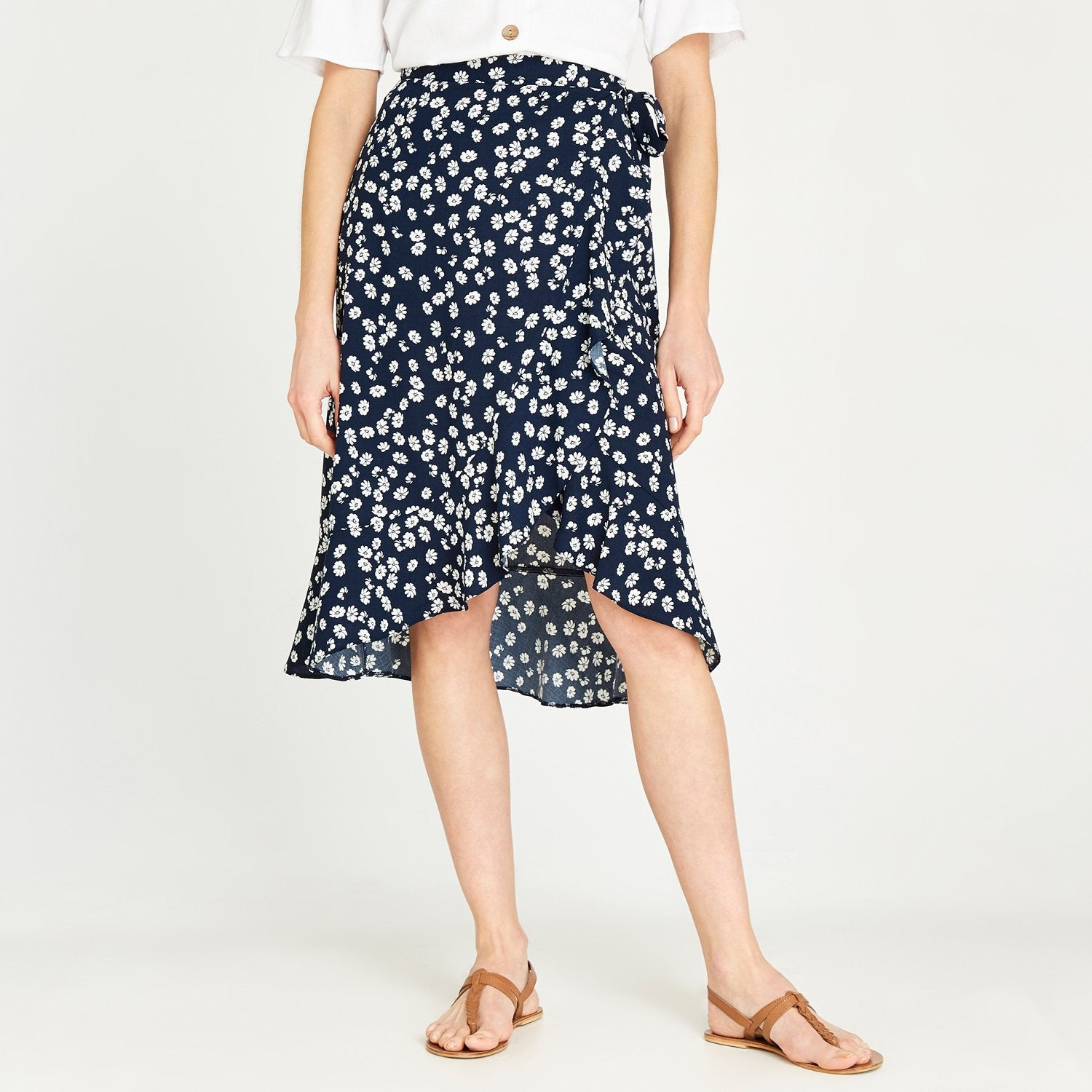Apricot navy floral skirt 480612