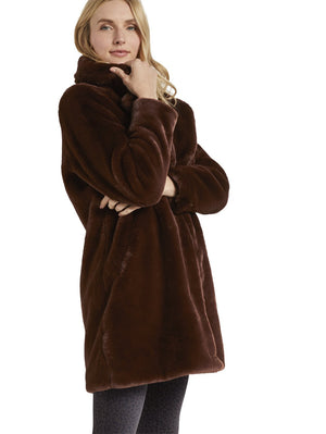 Tom Tailor brown faux fur coat 1020615