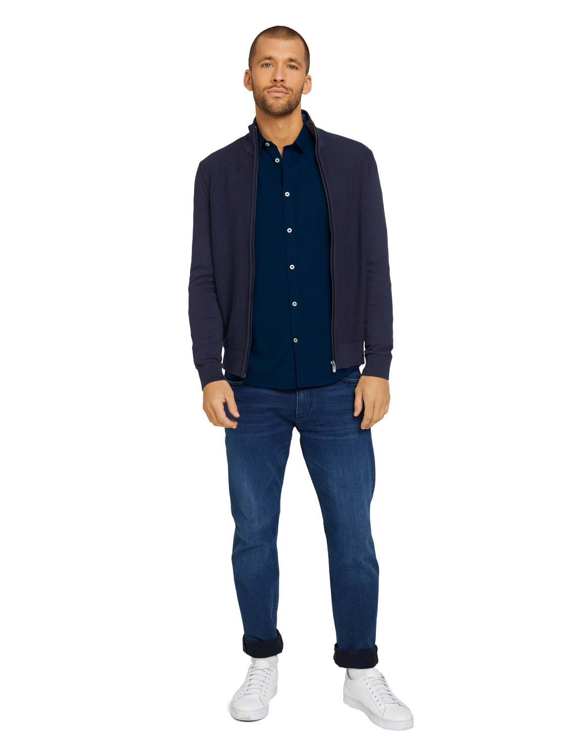 Tom Tailor fitted dobby shirt navy 1023881