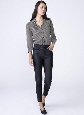 Unpublished Olivia black PU coated denim