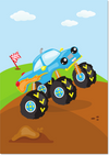 kinderkamerposter monstertruck blauw - Print je Feestje