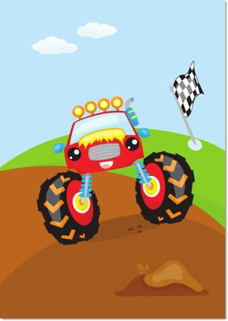 poster monstertruck rood kinderkamer - Print je Feestje